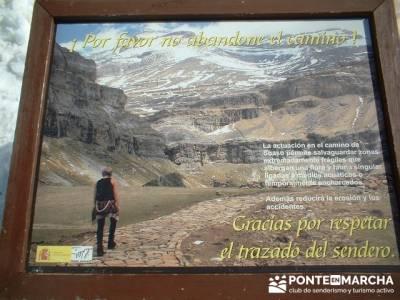 Gracias por respetar el trazado del sendero - Ordesa; senderismo singles madrid; senderos viajes y t